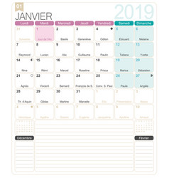 french calendar - january 2019 vector image