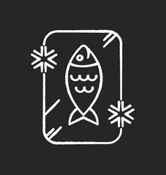 Frozen food chalk white icon on black background vector