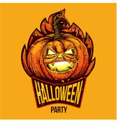 Fun halloween engraved logo vector