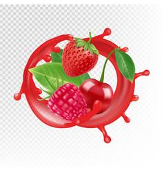 garden and wild berries realistic juice vector image