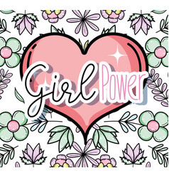 girl power cute cartoons vector image
