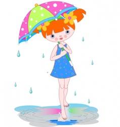 Girl under summer rain vector