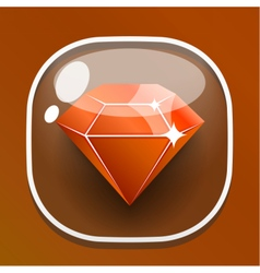 Glass button diamond for game interface vector