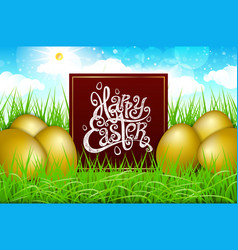 Golden gold eggs in a field of grass with blue vector