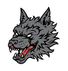 Gray angry dangerous wolf head concept vector