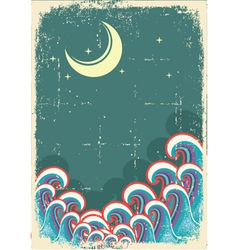 Grunge with moon and sea waves vector