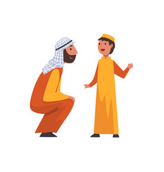 Happy father and his son muslim arab family in vector