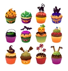 Happy Halloween cupcake set Scary sweets to vector image