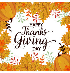 Happy thanks giving card with pumpkin vector