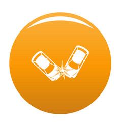 Hard collision icon orange vector