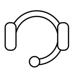 headset with microphone thin line icon wireless vector image