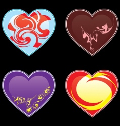 hearts and ornaments illustrations vector image