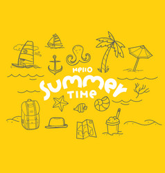 Hello summer time doodle elements with lettering vector