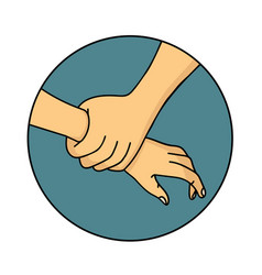 Helping hand outline sign vector