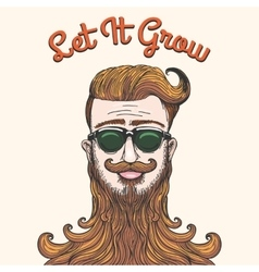 Hipster with huge beard vector image vector image