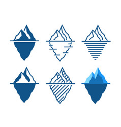 iceberg icons in different styles vector image