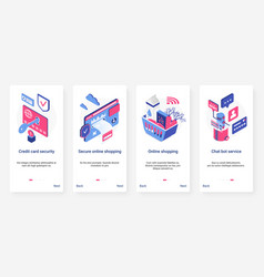 isometric safe online shopping security ux ui vector image