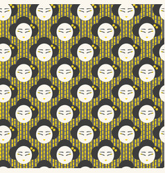 japanese face woman pattern seamless vector image vector image