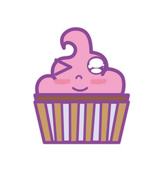 Kawaii cute funny muffin dessert vector