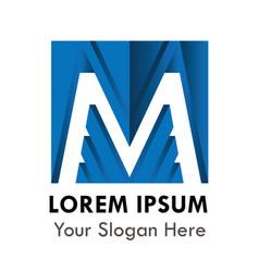 letter m logo alphabet blue logotype design vector image