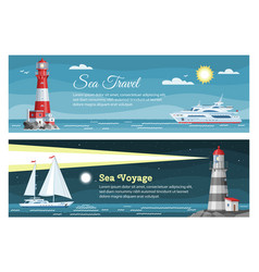 lighthouse sea travel banners set vector image