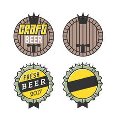 line art badge craft beer logo vintage label for vector image