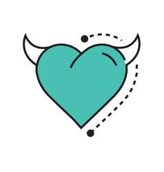 line icon style heart devil blue vector image