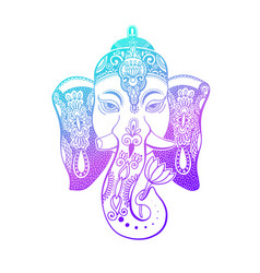lord ganesha head with lotus drawing - indian vector image