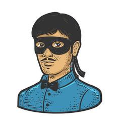 man mask line art sketch vector image