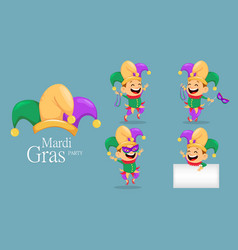 Mardi gras jester set vector