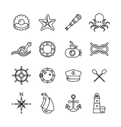 Marine sea nautical thin line icons vector