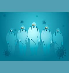 Men in hazmat suit ready to spraying disinfectant vector