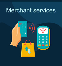 merchant services flat concept icon vector image