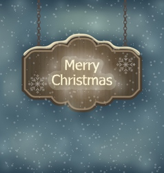 Merry christmas wooden board night holiday vector