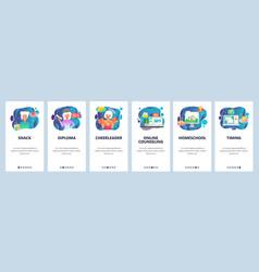 mobile app onboarding screens student graduation vector image