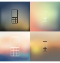 Mobile icon on blurred background vector