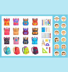 Office equipment girl and boy and backpack vector