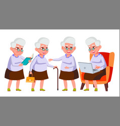 Old woman poses set elderly people senior vector