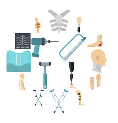 orthopedics prosthetics icons set in flat style vector image