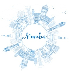 Outline Mumbai Skyline with Blue Landmarks vector