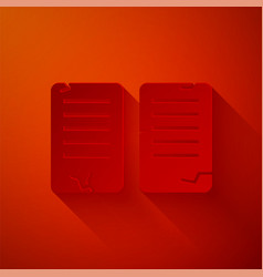 Paper cut commandments icon isolated on red vector