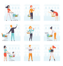 people choosing products pushing carts at grocery vector image