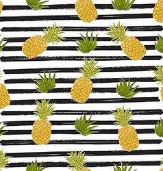 Pineapple hand drawn sketch striped Seamless vector image