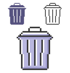 Pixel icon refuse bin in three variants fully vector