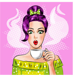 Pop art girl with cup of hot coffee vector