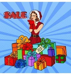 Pop Art Woman in Santa Hat on Christmas vector