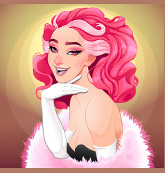 Portrait a diva with pink hair vector