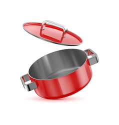 Red saucepan with a lid vector
