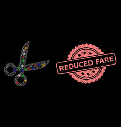 Rubber reduced fare seal and network scissors with vector