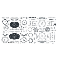 set floral decor hand drawn doodle vector image
